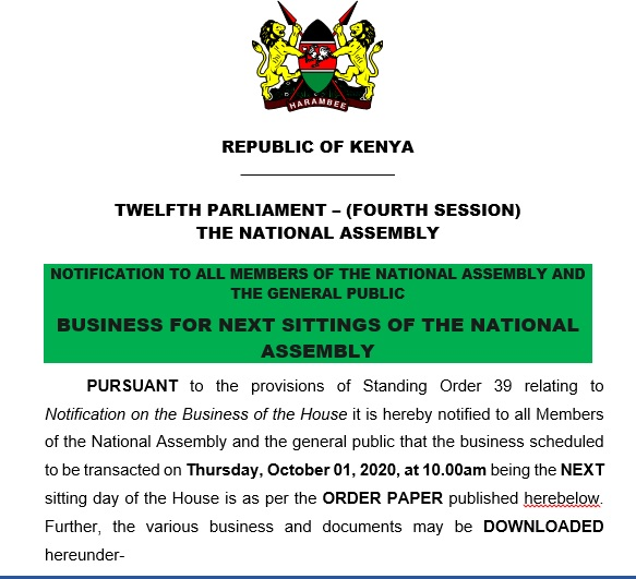 NOTIFICATION TO ALL MEMEBRS OF THE NATIONAL ASSEMBLY AND THE GENERAL PUBLIC