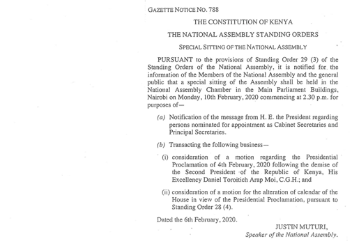 Gazette Notice No. 788 - Special Sitting of The National Assembly