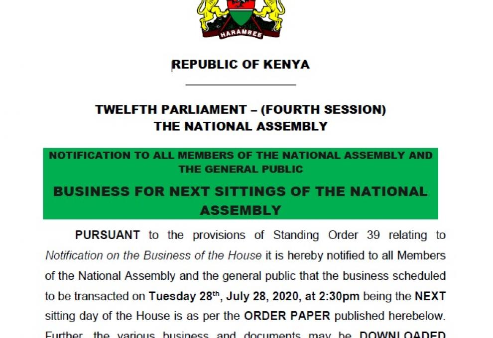 NOTIFICATION TO ALL MEMBERS OF THE NATIONAL ASSEMBLY AND THE GENERAL PUBLIC BUSINESS FOR NEXT SITTINGS OF THE NATIONAL ASSEMBLY