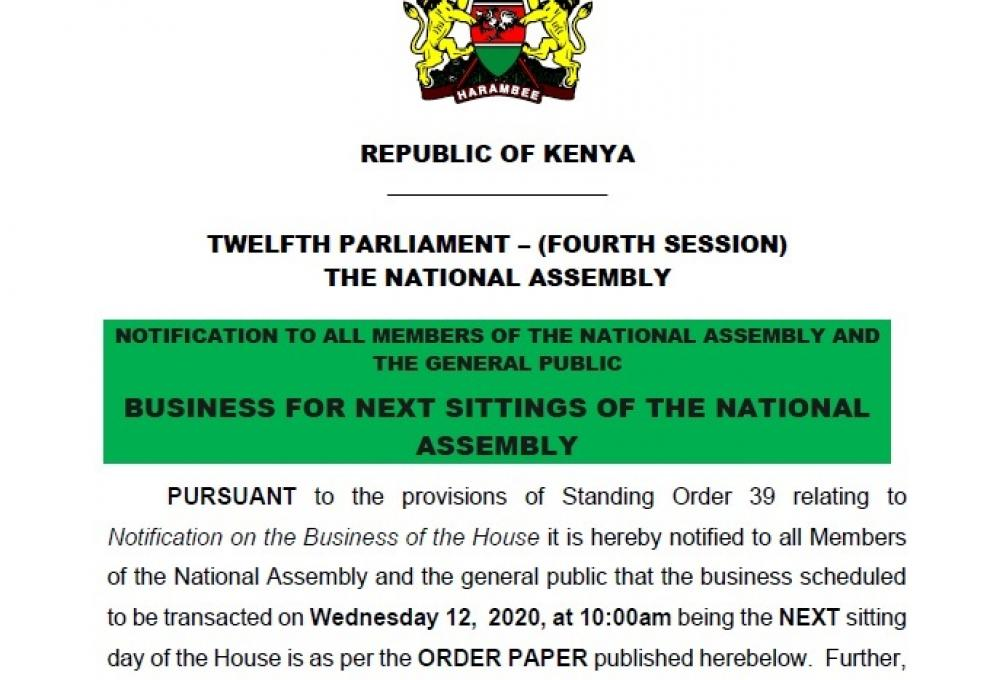 NOTIFICATION TO ALL MEMBERS OF THE NATIONAL ASSEMBLY AND THE GENERAL PUBLIC