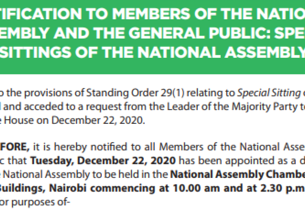 National Assembly Scheduled to hold Special Sittings before Christmas