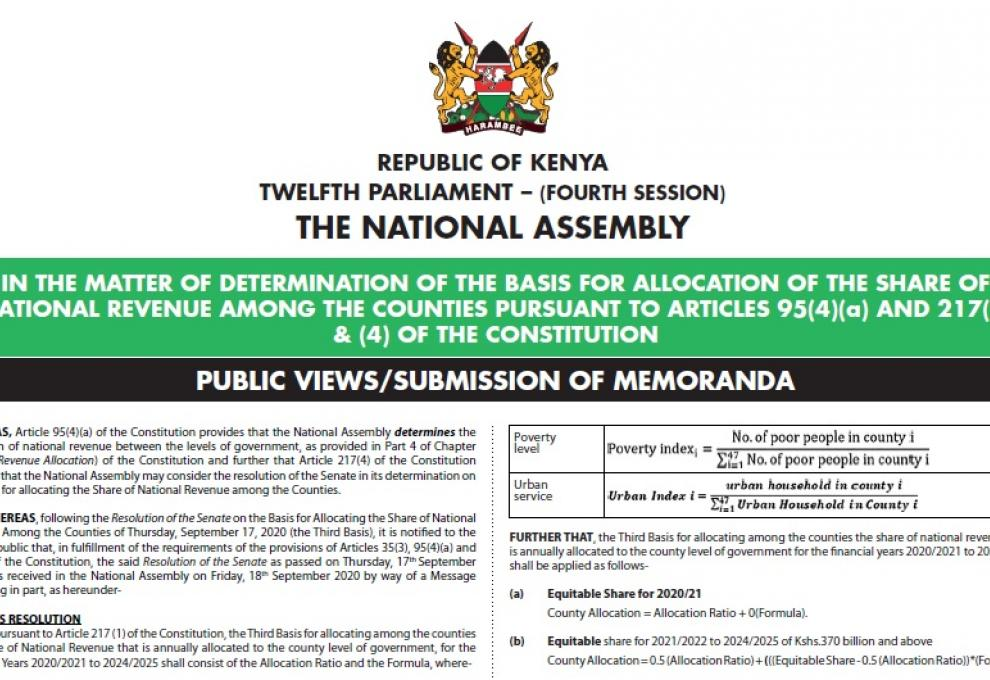 IN THE MATTER OF DETERMINATION OF THE BASIS FOR ALLOCATION OF THE SHARE OF NATIONAL REVENUE AMONG THE COUNTIES PURSUANT TO ARTICLES 95(4)(a) AND 217(3) & (4) OF THE CONSTITUTION