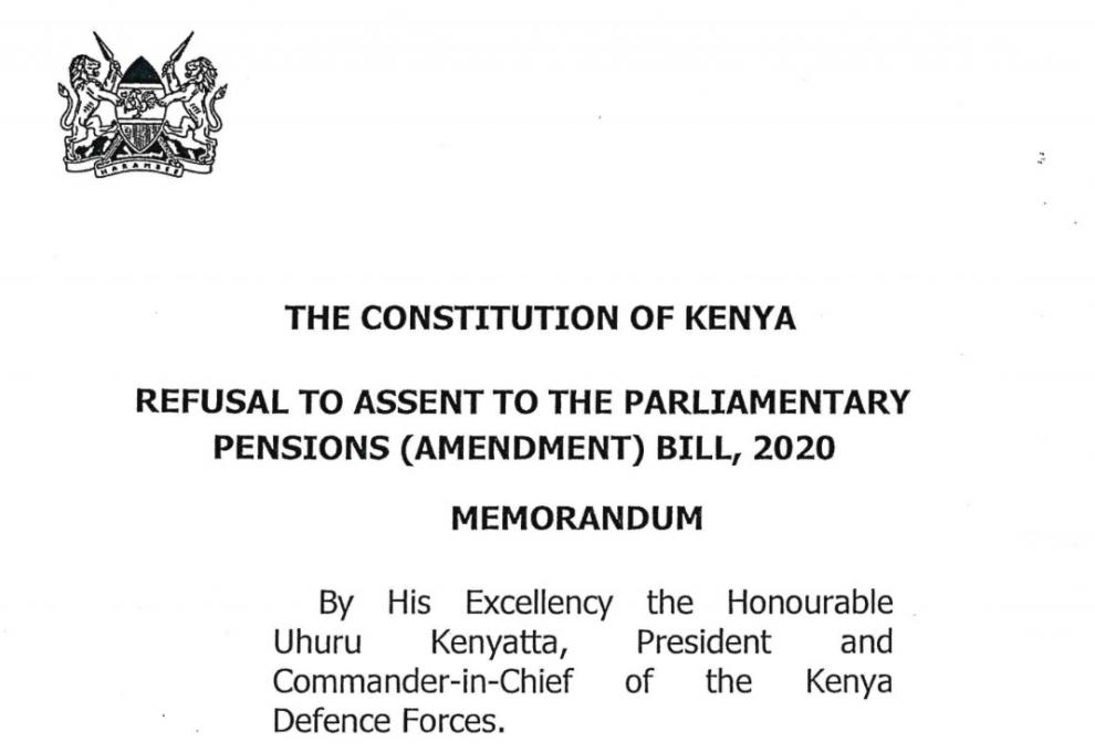 Memorandum from H. E. the President on Refusal to Assent to the Parliamentary Pensions (Amendment) Bill, 2019