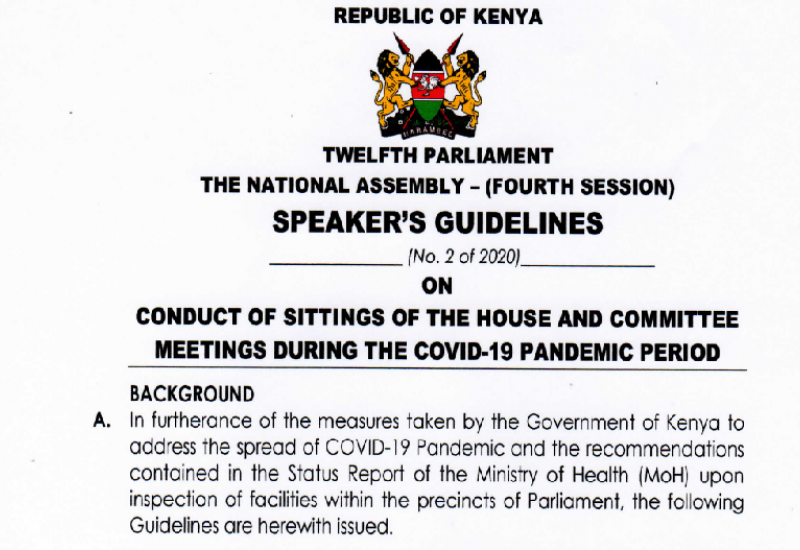 CONDUCT OF SITTINGS OF HOUSE AND COMMITTEE MEETINGS DURING THE COVID-19 PANDEMIC PERIOD.