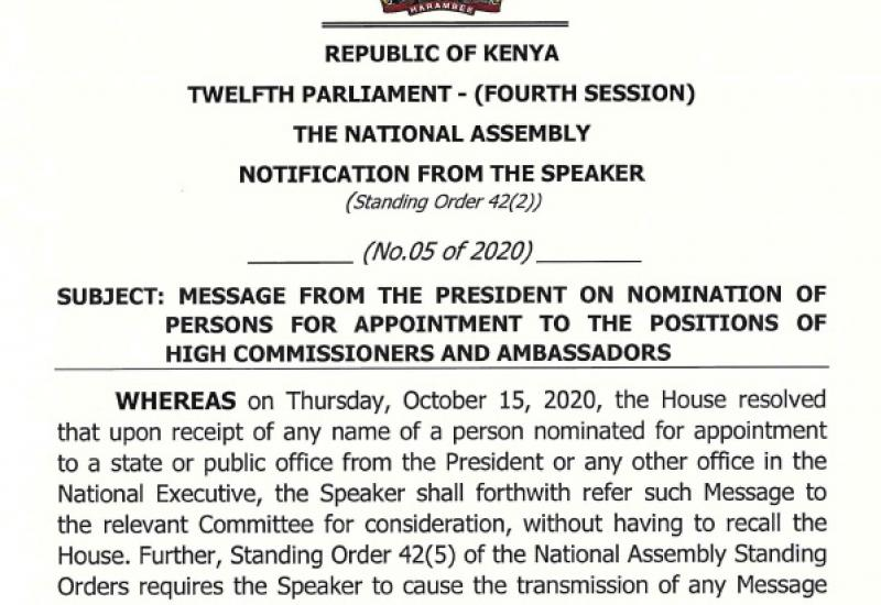 NOTIFICATION ON MESSAGE FROM THE PRESIDENT ON NOMINATION OF HIGH -COMMISSIONERS AND AMBASSADORS