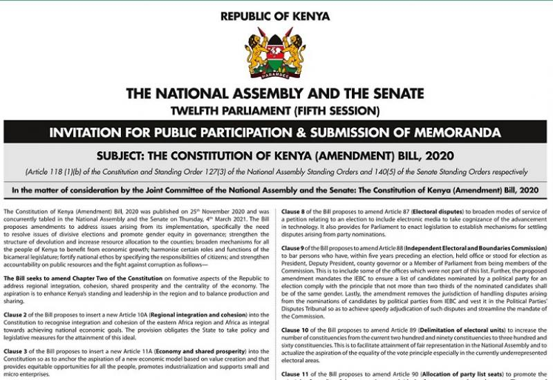 INVITATION FOR PUBLIC PARTICIPATION & SUBMISSION OF MEMORANDA ON THE ONSTITUTION OF KENYA (AMENDMENT) BILL 2020